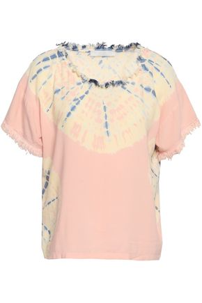 KAIN Frayed tie-dyed woven top