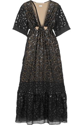 STELLA McCARTNEY Cutout faux leather-appliquéd chiffon gown