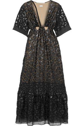 STELLA McCARTNEY Cutout faux leather-appliquéd chiffon gown