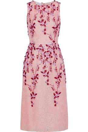 GIAMBATTISTA VALLI Floral appliquéd embroidered tulle midi dress