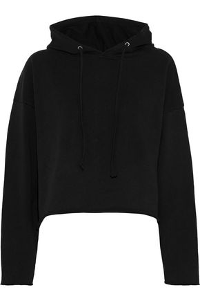 RTA Marvin cropped French cotton-terry hooded sweatshirt