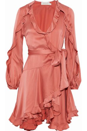 ZIMMERMANN Ruffle-trimmed washed-silk wrap mini dress