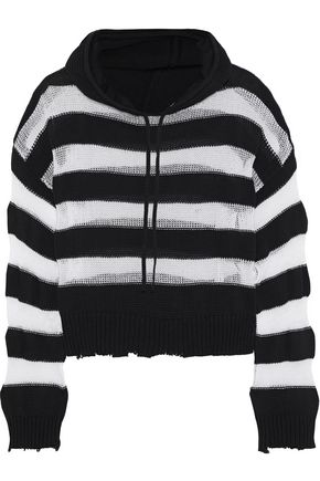 RTA Marvin striped open-knit cotton hooded sweatshirt