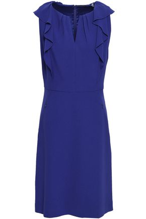 ELIE TAHARI Ruffle-trimmed crepe mini dress