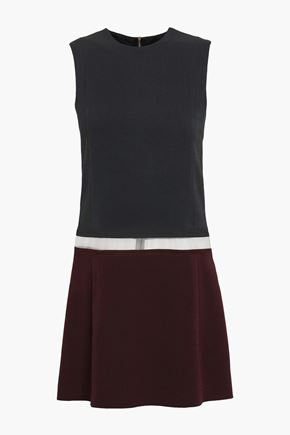 VICTORIA BECKHAM Tulle-paneled wool and silk-blend crepe mini dress