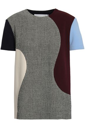 VICTORIA BECKHAM Paneled stretch-knit, twill and tweed top