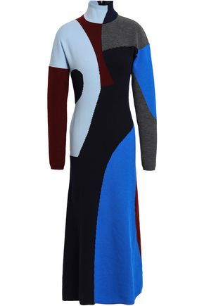VICTORIA BECKHAM Intarsia-knit wool-blend turtleneck midi dress