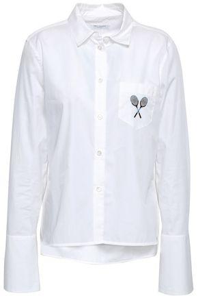 EQUIPMENT 刺繍入り コットンポプリン シャツ