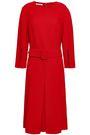 OSCAR DE LA RENTA Belted pleated wool-blend crepe dress
