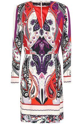 ETRO Paneled printed washed-crepe dress