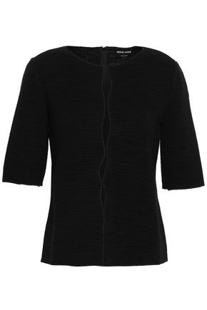 GIORGIO ARMANI Cutout virgin wool-blend top