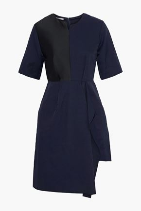STELLA McCARTNEY Neema asymmetric satin-paneled twill dress
