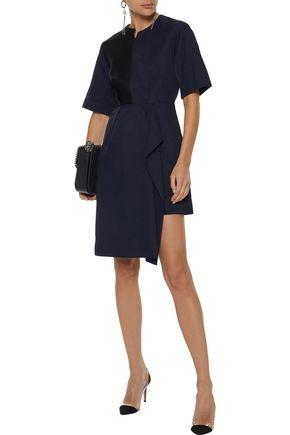 STELLA McCARTNEY Neema asymmetric satin-paneled twill dress