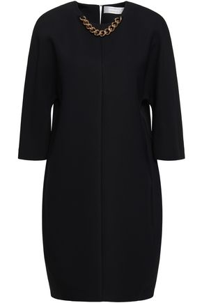 VICTORIA BECKHAM Chain-trimmed crepe mini dress