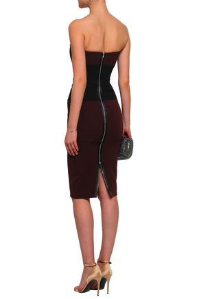 VICTORIA BECKHAM Strapless two-tone wool and silk-blend crepe dress
