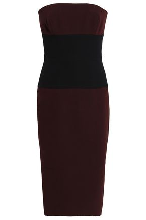 VICTORIA BECKHAM Two-tone wool and silk-blend crepe dress