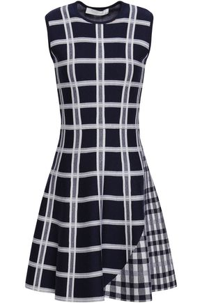 VICTORIA BECKHAM Checked wool-blend jacquard mini dress