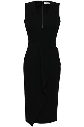 VICTORIA BECKHAM Button-detailed cutout wool-crepe dress