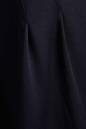 TIBI Cutout gathered stretch-piqué mini dress