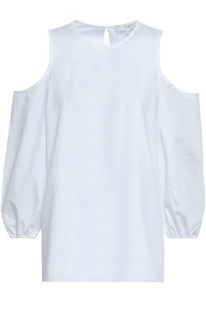 TIBI Cold-shoulder cotton-poplin top