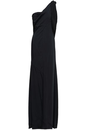 VICTORIA BECKHAM One-shoulder lace-up satin gown