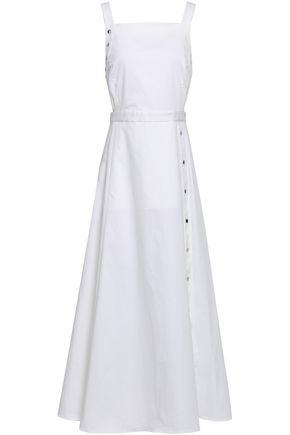 TIBI Button-embellished cutout stretch-cotton sateen midi dress