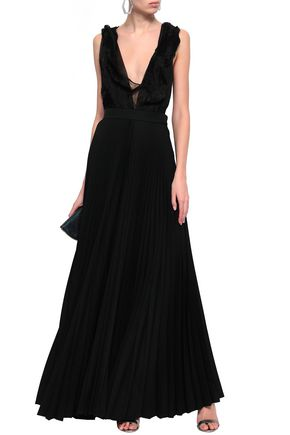 VICTORIA BECKHAM Draped plissé-organza and pleated wool gown