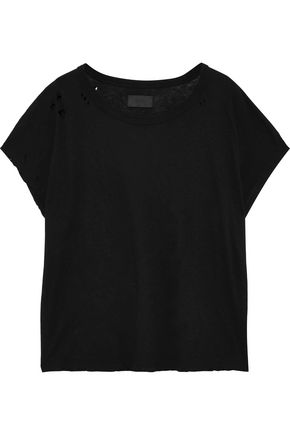 RTA Dawn distressed cotton and cashmere-blend T-shirt
