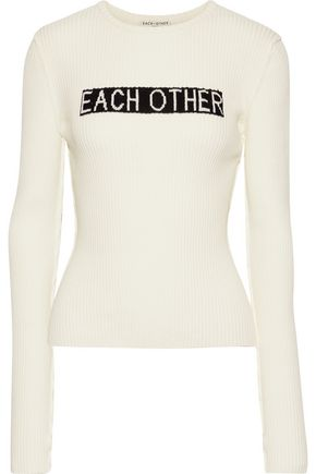 EACH X OTHER Ribbed intarsia cotton sweater