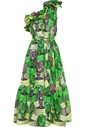 STELLA McCARTNEY Nyasia one-shoulder ruffled printed cotton maxi dress