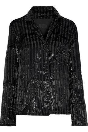 RTA Metallic striped velvet shirt