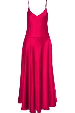 STELLA McCARTNEY Fluted satin maxi slip dress