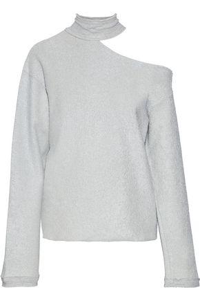 RTA Langley one-shoulder metallic cotton-blend terry sweatshirt
