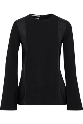 STELLA McCARTNEY Kira faux leather-paneled stretch-cady top