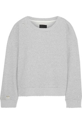 RTA Distressed mélange French cotton-terry sweatshirt