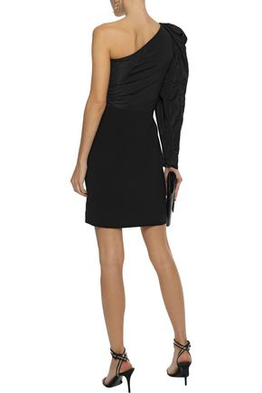 STELLA McCARTNEY One-shoulder duchesse-satin and cady mini dress