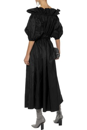 STELLA McCARTNEY Aubrie off-the-shoulder belted taffeta midi dress