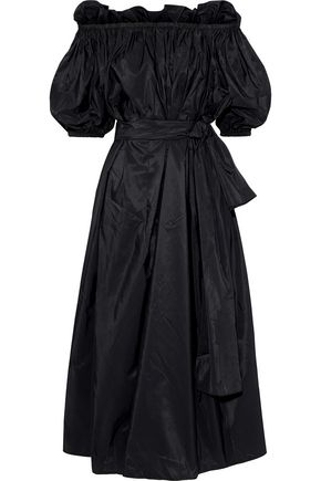 STELLA McCARTNEY Aubrie off-the-shoulder belted taffeta midi dress