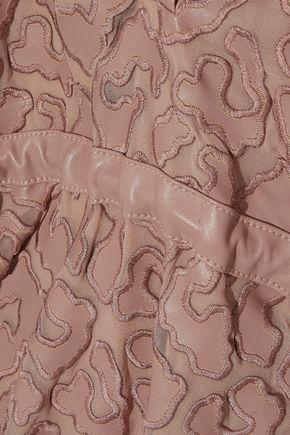 STELLA McCARTNEY Cutout faux leather-appliquéd chiffon mini dress