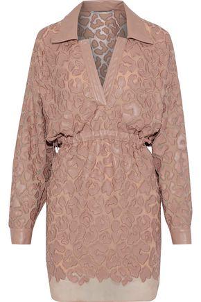 4a2d5875b74d7 STELLA McCARTNEY Cutout faux leather-appliquéd chiffon mini dress