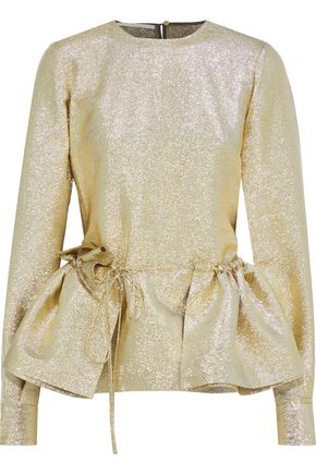 STELLA McCARTNEY Gathered lamé peplum blouse