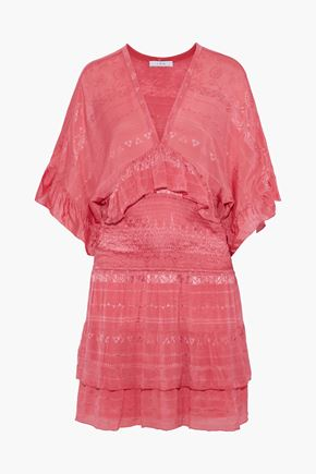 IRO Stacy smocked embroidered chiffon mini dress