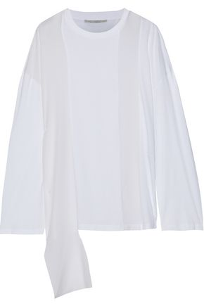 STELLA McCARTNEY Draped silk crepe de chine-paneled cotton-jersey top