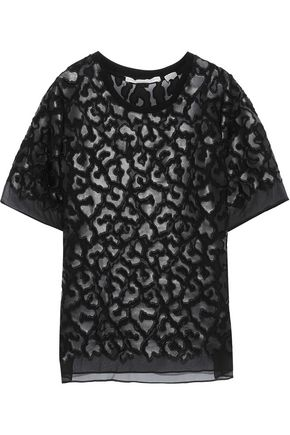 STELLA McCARTNEY Animalier faux leather-appliquéd silk-chiffon T-shirt