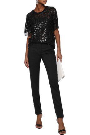 STELLA McCARTNEY Animalier faux leather-appliquéd silk-chiffon T-shirt