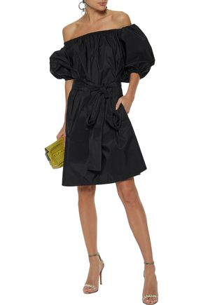 STELLA McCARTNEY Aubrie off-the-shoulder belted taffeta dress