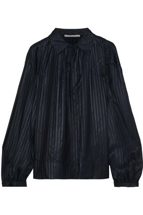 STELLA McCARTNEY Yael gathered striped silk-jacquard blouse