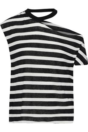RTA Axel one-shoulder striped cotton and cashmere-blend top