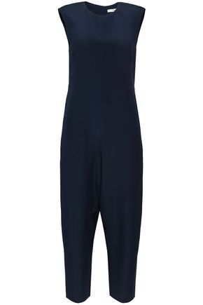 TIBI Cropped cutout silk-crepe jumpsuit