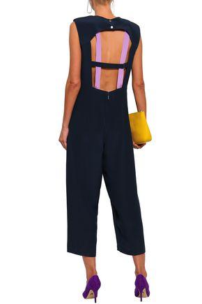 Tibi Woman Cropped Cutout Silk-crepe Jumpsuit Navy